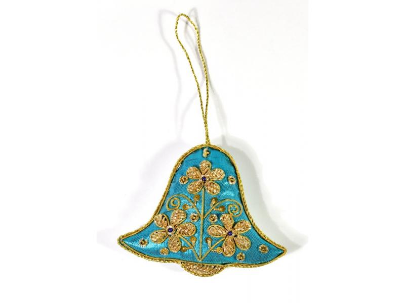 Vánoční ozdoba, modrý zvoneček, bohatě zlatě zdobená, 7,5x10cm