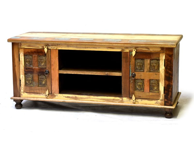 Komoda pod TV z antik teakového dřeva zdobená mosaznými Buddhy, 140x45x45cm