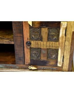 Komoda pod TV z antik teakového dřeva zdobená mosaznými Buddhy, 160x45x61cm