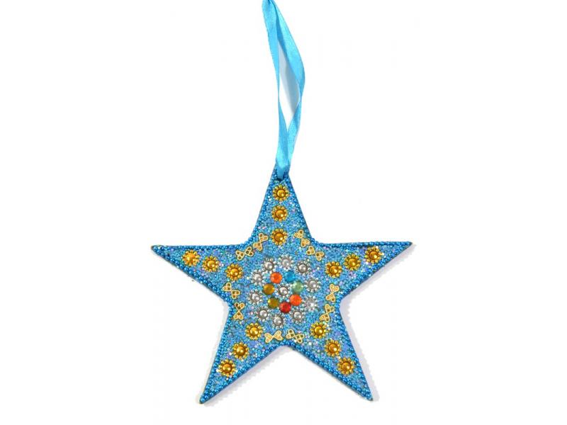 Vánoční ozdoba, hvězda, tyrkysová, flitry, cca 13cm