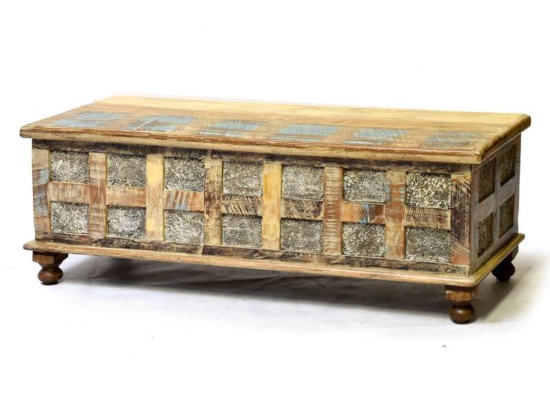 Truhla z mangového dřeva, ruční řezby, 130x45x45cm
