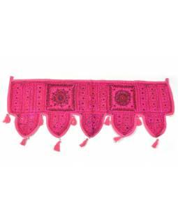 Závěs nad dveře, růžový, výšivka, třásně, 103x35cm