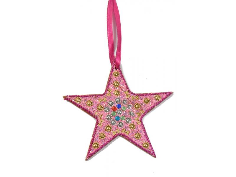 Vánoční ozdoba, hvězda, růžová,  flitry, cca 13cm