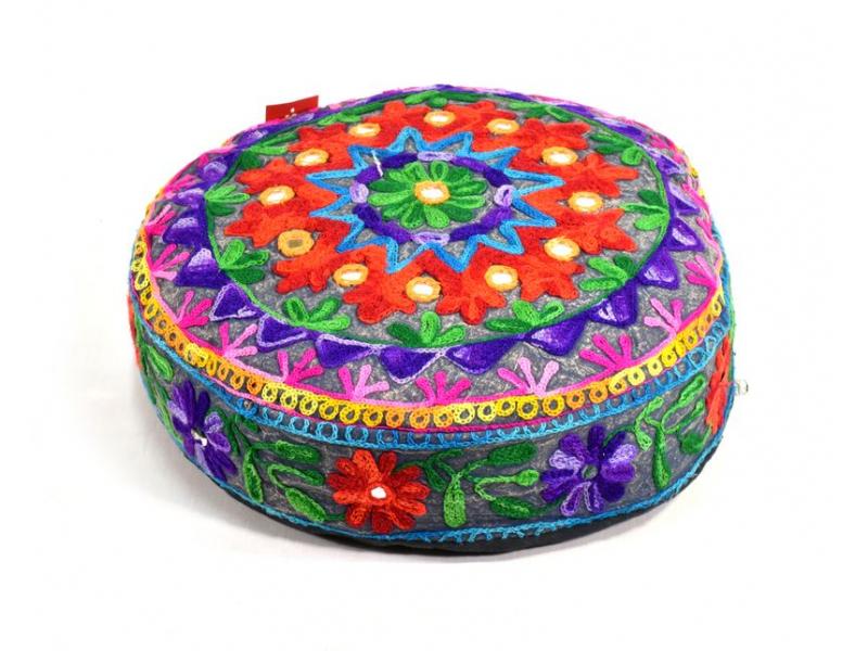 Meditační polštář, ručně vyšívaný Kashmir Floral Design, kulatý 40x12cm