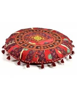 Kulatý meditační polštář se zrcátky, ručně vyšívaný patchwork, 70x70x10cm