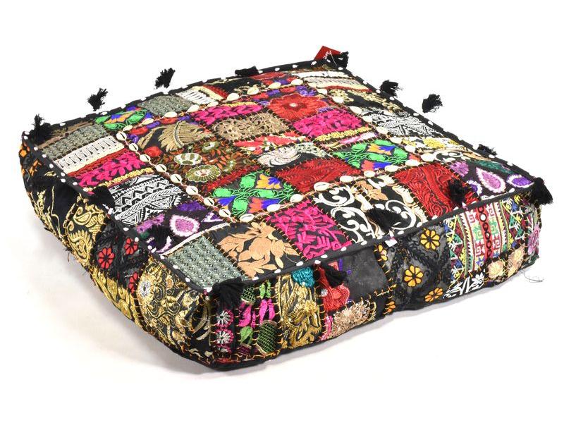 Čtvercový meditační polštář, ručně vyšívaný patchwork, 60x60x10cm