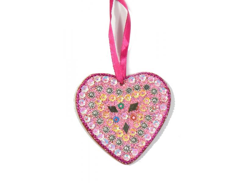Vánoční ozdoba, srdce, růžové, flitry, cca 9x9cm