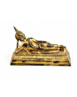 Narozeninový Buddha resinový 30cm  -  zlatá patina