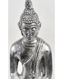 Narozeninový Buddha resinový 30cm -  stříbrná patina