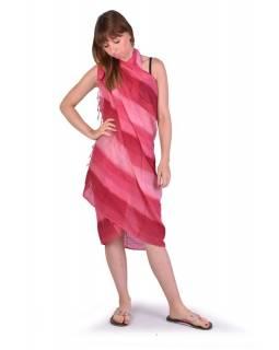 Šátek, bavlna, tmavě červený, batika, pruhy, třásně, cca 110x180cm