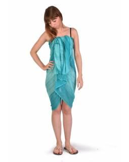 Šátek, bavlna, tyrkysový, batika, pruhy, třásně, cca 110x180cm