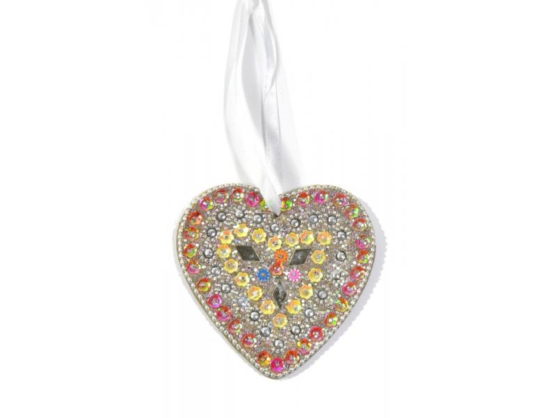 Vánoční ozdoba, srdce, stříbrné, flitry, cca 9x9cm