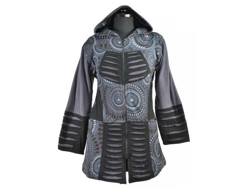 Mikina s kapucí a prostřihy, zapínaní na zip, potisk, kapsy