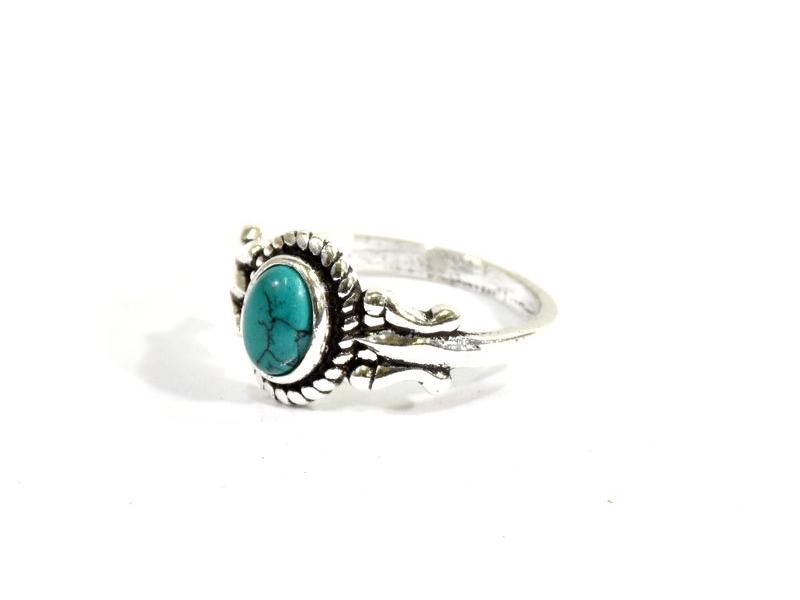 Prsten vykládaný tyrkenitem, postříbřený (10µm)