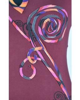 """Krátké vínové šaty bez rukávu, """"Spiral Rose design"""", atypický výstřih"""
