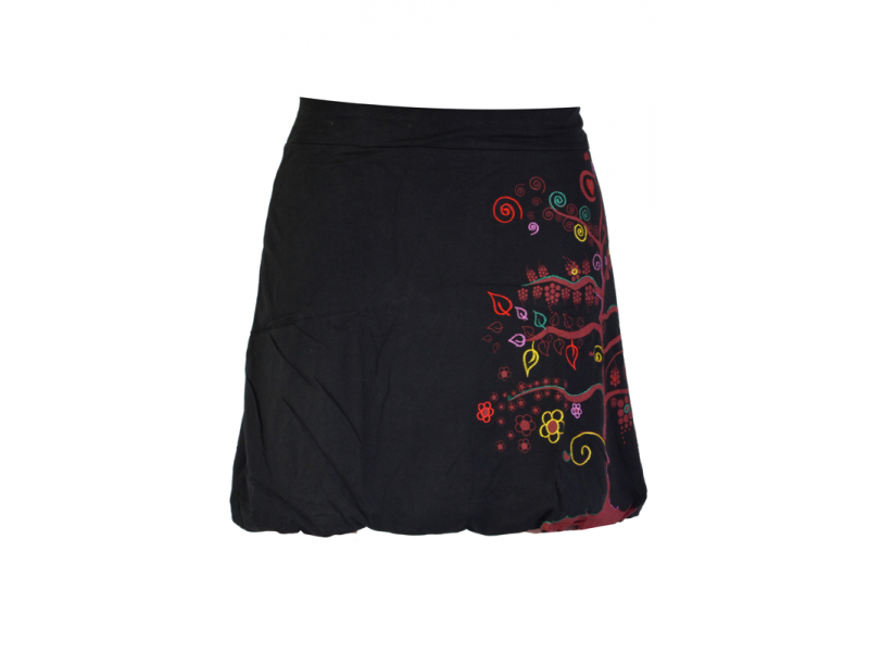 Krátká černá balonová sukně, Tree design, kombinace tisku a výšivky