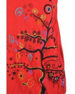 Krátká červená balonová sukně, Tree design, kombinace tisku a výšivky