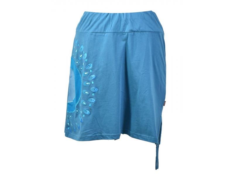Krátká modrá sukně s potiskem a stahovací šňůrkou, pružný pas