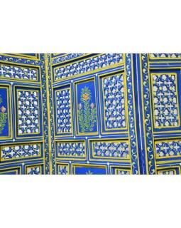 Modrý paravan, ručně vyřezávaný z mangového dřeva, 200x180x4cm