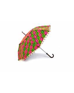 Pestrobarevný slunečník z Rajastanu, výšivka, průměr 90 cm
