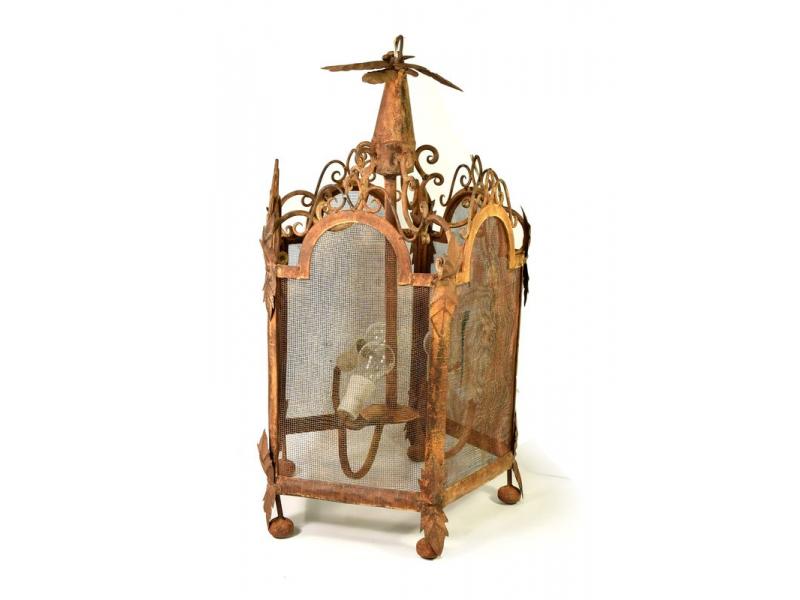 Železná lampa v orientálním stylu, oranžová, antik patina, 48x45x83cm