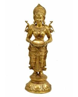 Mosazná socha bohyně Lakšmi, 77x27x25cm