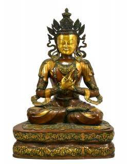 Mosazná socha Vadžradhary, tib. Dorje Čhang, 72x50x102cm