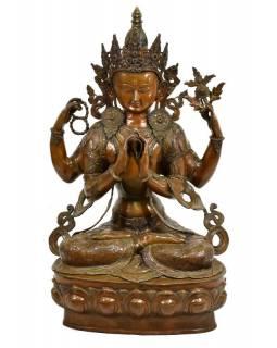 Mosazná socha Avalokitešvary, bodhisattvy soucitu, se čtyřma rukama, 71x50x102cm