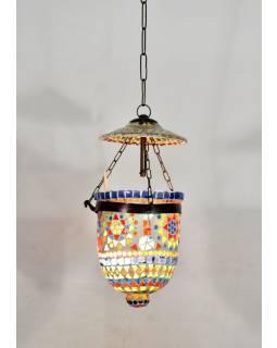 Skleněná mozaiková lampa, ruční práce, barevná, 17x14cm