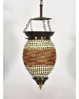 Skleněná mozaiková lampa, ruční práce, korálky, 21x13cm