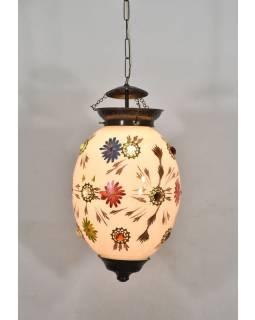 Oválná skleněná lampa zdobená barevnými kameny, bílá, 27x27x44cm