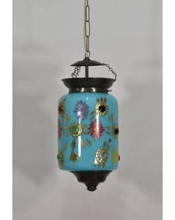 Oválná skleněná lampa zdobená barevnými kameny, tyrkys, 20x20x36cm