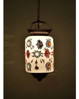 Oválná skleněná lampa zdobená barevnými kameny, bílá, 20x20x36cm
