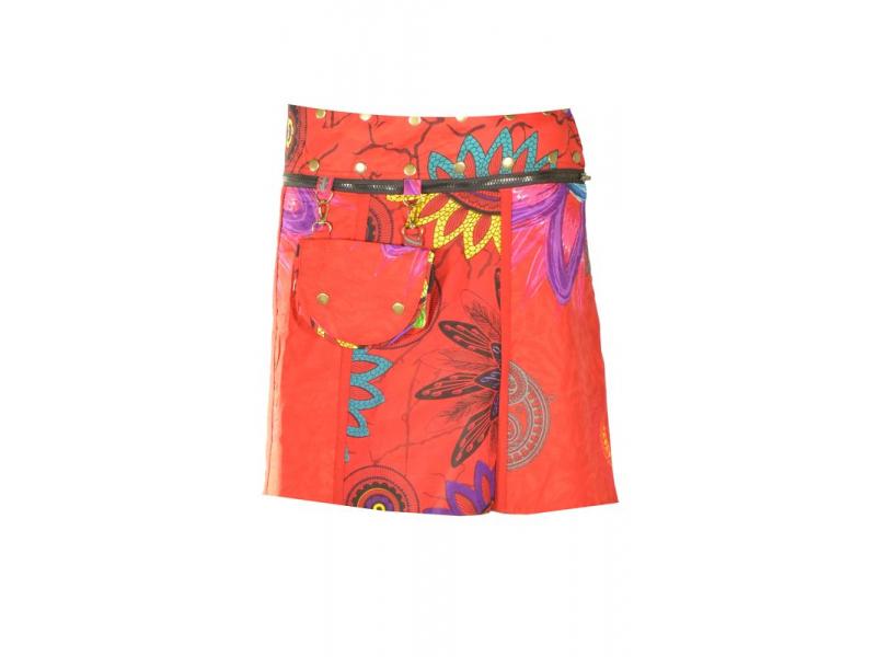 """Krátká červená oboustranná sukně """"Flower Mandala"""", zapínání na patentky"""