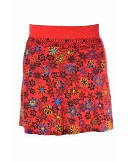 """Krátká červená sukně """"Meadow design"""", černý potisk a výšivka, pružný pas"""