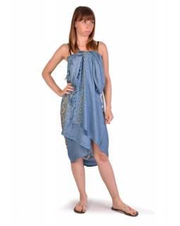 Šedo modrý sárong, potisk mandala, viskóza, 110x170cm