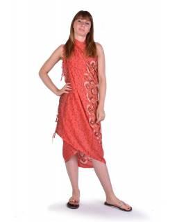 Červený sárong, potisk mandala, viskóza, 110x170cm