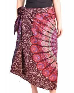 """Sárong fialovo-růžový """"Naptal"""" design, 110x170cm, s ručním tiskem"""