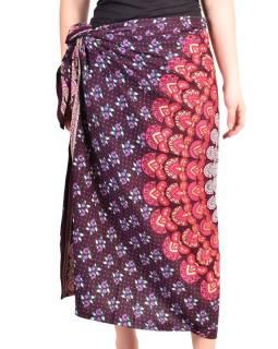 """Sárong z viskózy s ručním tiskem, fialovo-růžový """"Naptal"""" design, 110x170cm"""