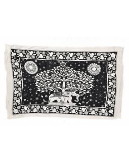 Černo bílý sárong se slonem, 110x170cm