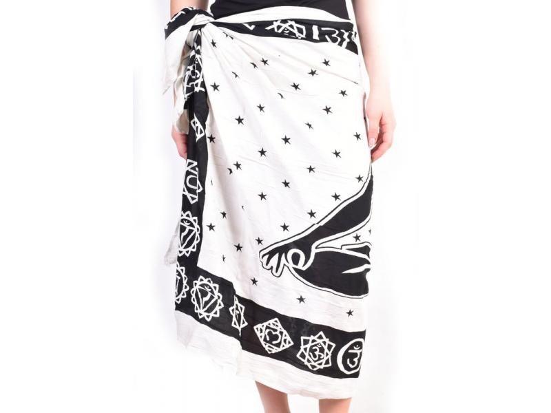 Černo bílý sárong s jogínem, 110x170cm
