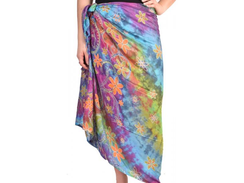 Multibarevný sárong, floral design, 100x190cm