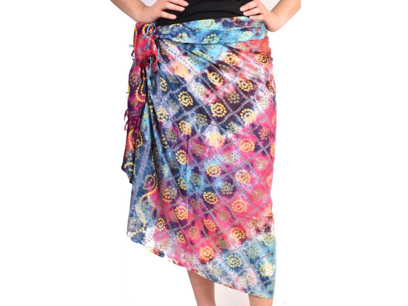 Multibarevný sárong, spirálky, 100x190cm