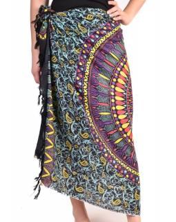 Černý sárong, floral design, 100x190cm