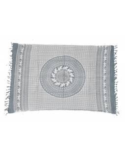 Sárong z viskózy, šedo-bílá s Mandalou a slony, 100x160cm + třásně