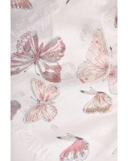Šátek s motivem motýlů a třásněmi, béžový, 180x75cm