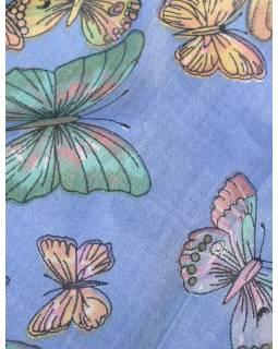 Šátek s motivem motýlů a třásněmi, modrofialový, 180x75cm