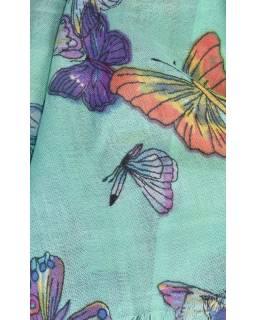 Šátek s motivem motýlů a třásněmi, zelený, 180x75cm