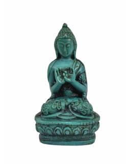 Buddha Vairóčana, sedící, tyrkysový, pryskyřice, 9cm