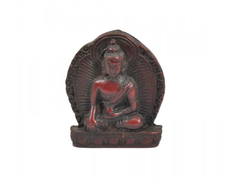 """Buddha Šákjamuni, mini, """"stone"""", hnědo červený, pryskyřice, 4cm"""